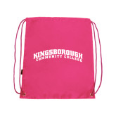 Community College Pink Drawstring Backpack-Arched Kingsborough
