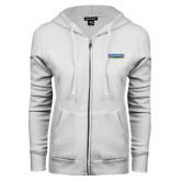 Community College ENZA Ladies White Fleece Full Zip Hoodie-Official Logo