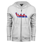 Community College ENZA Ladies White Fleece Full Zip Hoodie-The Wave