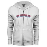 Community College ENZA Ladies White Fleece Full Zip Hoodie-Arched Kingsborough