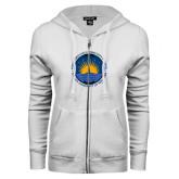 Community College ENZA Ladies White Fleece Full Zip Hoodie-LightHouse