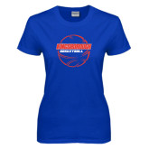 Community College Ladies Royal T Shirt-BasketBall School in Ball