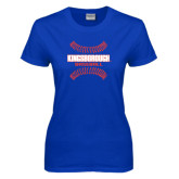 Community College Ladies Royal T Shirt-Baseball Sideways Seams