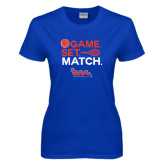 Community College Ladies Royal T Shirt-Tennis Game Set Match