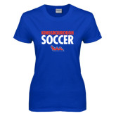 Community College Ladies Royal T Shirt-Soccer Stacked