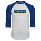 White/Royal Raglan Baseball T Shirt-Official Logo