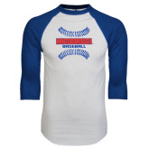 White/Royal Raglan Baseball T Shirt-Baseball Sideways Seams