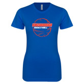 Next Level Ladies SoftStyle Junior Fitted Royal Tee-BasketBall School in Ball