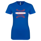 Next Level Ladies SoftStyle Junior Fitted Royal Tee-Baseball Sideways Seams