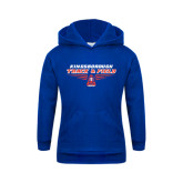 Community College Youth Royal Fleece Hoodie-Track and Field Front View Shoe