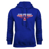 Community College Royal Fleece Hoodie-Track and Field Front View Shoe