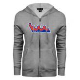 Community College ENZA Ladies Grey Fleece Full Zip Hoodie-The Wave