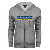 Community College ENZA Ladies Grey Fleece Full Zip Hoodie-Official Logo
