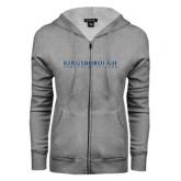 Community College ENZA Ladies Grey Fleece Full Zip Hoodie-Wordmark