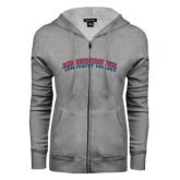 Community College ENZA Ladies Grey Fleece Full Zip Hoodie-Arched Kingsborough