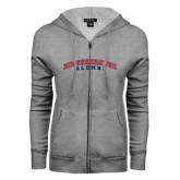 Community College ENZA Ladies Grey Fleece Full Zip Hoodie-Alumni