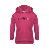 Community College Youth Raspberry Fleece Hoodie-Arched Kingsborough Foil