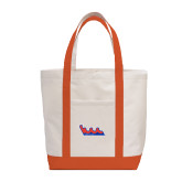 Contender White/Orange Canvas Tote-The Wave
