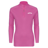 Community College Ladies Syntrel Interlock Raspberry 1/4 Zip-Arched Kingsborough