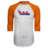 White/Orange Raglan Baseball T Shirt-The Wave