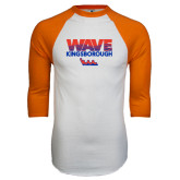 White/Orange Raglan Baseball T Shirt-Wave