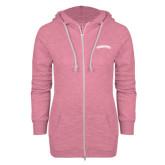 Community College ENZA Ladies Hot Pink Marled Full Zip Hoodie-Arched Kingsborough