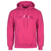 Community College Fuchsia Fleece Hoodie-Arched Kingsborough Foil