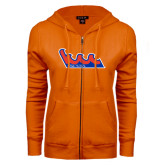 Community College ENZA Ladies Orange Fleece Full Zip Hoodie-The Wave