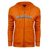 Community College ENZA Ladies Orange Fleece Full Zip Hoodie-Arched Kingsborough