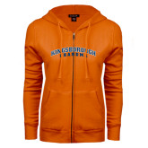 Community College ENZA Ladies Orange Fleece Full Zip Hoodie-Grandma