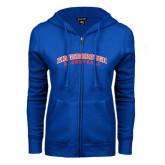 Community College ENZA Ladies Royal Fleece Full Zip Hoodie-Basketball