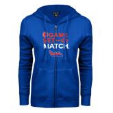 Community College ENZA Ladies Royal Fleece Full Zip Hoodie-Tennis Game Set Match