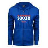 Community College ENZA Ladies Royal Fleece Full Zip Hoodie-Soccer Stacked