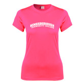 Community College Ladies Performance Hot Pink Tee-Arched Kingsborough