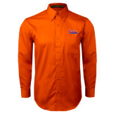 Community College Orange Twill Button Down Long Sleeve-The Wave