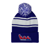 Community College Royal/White Two Tone Knit Pom Beanie w/Cuff-The Wave