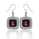 Crystal Studded Square Pendant Silver Dangle Earrings-Red Hawk