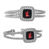 Crystal Studded Cable Cuff Bracelet With Square Pendant-Red Hawk