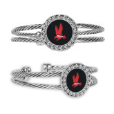 Crystal Studded Cable Cuff Bracelet with Round Pendant-Red Hawk