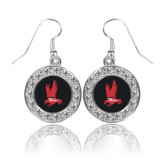 Crystal Studded Round Pendant Silver Dangle Earrings-Red Hawk