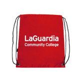 Red Drawstring Backpack-LaGuardia Wordmark