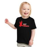 Toddler Black T Shirt-LaGuardia Red Hawks