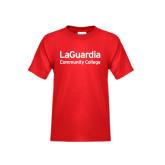 Youth Red T Shirt-LaGuardia Wordmark