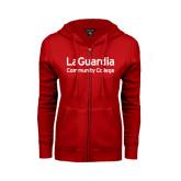 ENZA Ladies Red Fleece Full Zip Hoodie-LaGuardia Wordmark