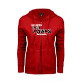 ENZA Ladies Red Fleece Full Zip Hoodie-Swimming