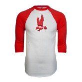 White/Red Raglan Baseball T-Shirt-Red Hawk