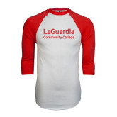 White/Red Raglan Baseball T-Shirt-LaGuardia Wordmark