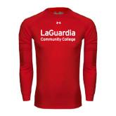 Under Armour Red Long Sleeve Tech Tee-LaGuardia Wordmark