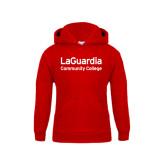 Youth Red Fleece Hoodie-LaGuardia Wordmark