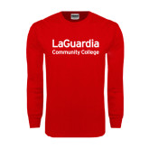 Red Long Sleeve T Shirt-LaGuardia Wordmark